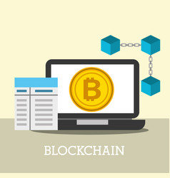 laptop bitcoin internet blockchain business vector image