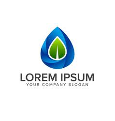 Leaf water drop logo design concept template vector