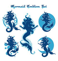 Mermaid emblem set vector