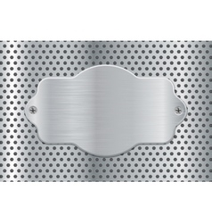 Metal plate on perforated background vector image