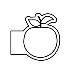 Monochrome contour with apple fruit and banner vector