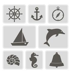 monochrome icons with marine recreation symbols vector image