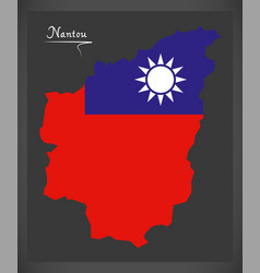 Nantou taiwan map with taiwanese national flag vector
