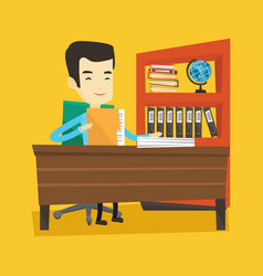 Office worker working with documents vector