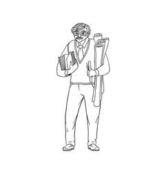 Older male pedagogue professor or designer of vector