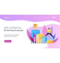 On the way to success concept landing page vector