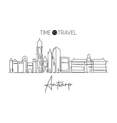 One continuous line drawing antwerp city vector