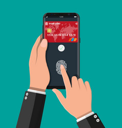 payment app with bank card on smartphone vector image