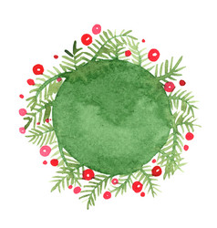 pine leaf and red berry wreath banner watercolor vector image