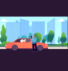 Policeman and female driver car inspector write vector
