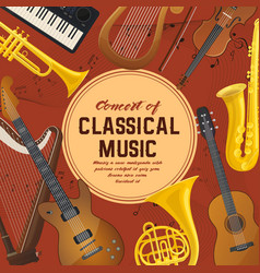 Poster for classical music instruments sound vector