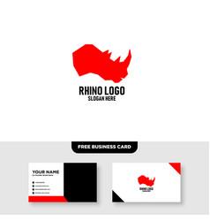 Rhino head logo design free business card template vector