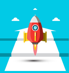 rocket launch with white arrow on blue background vector image