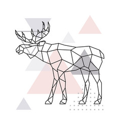 Scandinavian moose side view geometric vector