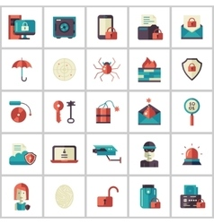 Security protection modern flat design icons and vector image