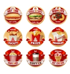 Set of fast food logos stickers vector