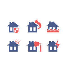set of icons related to house insurance theme vector image