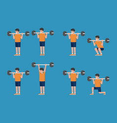 Set of man in bodybuilding and weight training vector