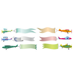 set retro airplane with banner biplane vector image