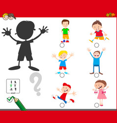 Shadows game with cartoon kid characters vector