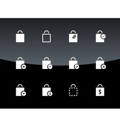 Shopping bag icons on black background vector image