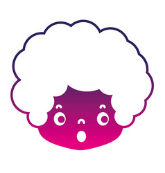 Silhouette boy head with curly hair and scared vector