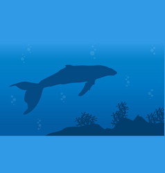 Silhouette of one whale on ocean landscape vector