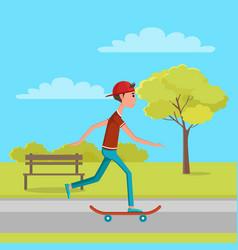 Skateboarder moving on high speed green skatepark vector