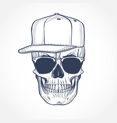 Skull with hat and sunglasses line art vector
