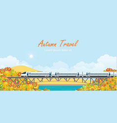 speed train on railway bridge on colorful autumn vector image