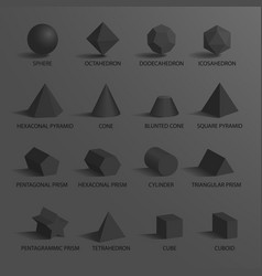 sphere and set of shapes on vector image