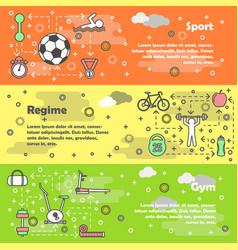 sport concept flat line art banner set vector image