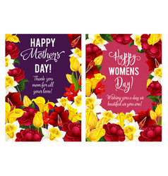 springtime women day flowers cards vector image
