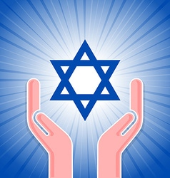 Star of David with hands vector