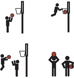 Stick man basketball vector