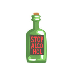 stop alcohol bottle bad habit alcohol addiction vector image