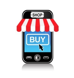 store and purchase using a mobile phone vector image