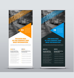 template roll-up banners with blue and orange vector image