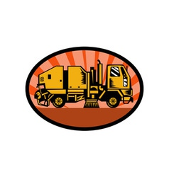 Treet sweeper truck side view vector