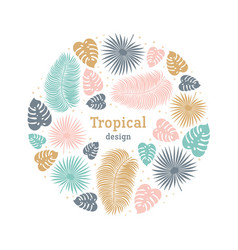 Tropical round shape template in pastel colors vector