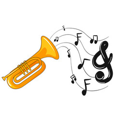 trumpet with music notes in background vector image
