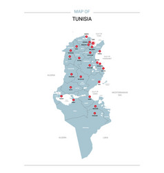 Tunisia map with red pin vector