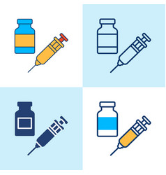 vaccine bottle and syringe icon set in line style vector image