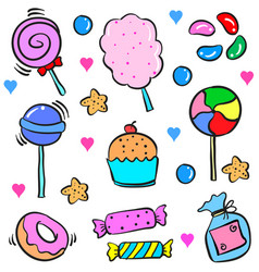 Various candy food cake doodle style vector