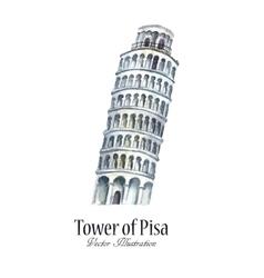watercolor tower pisa vector image