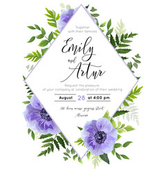 Wedding modern floral invite card design vector