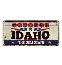 Welcome to idaho vintage rusty metal sign vector