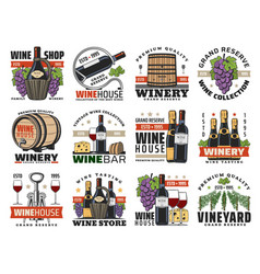 wine winemaking and viticulture icons set vector image