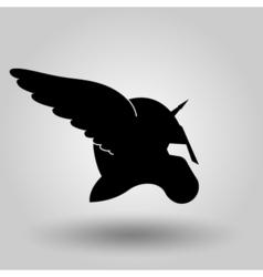 winged helmet silhouette vector image