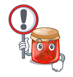 With sign character homemade strawberry marmalade vector